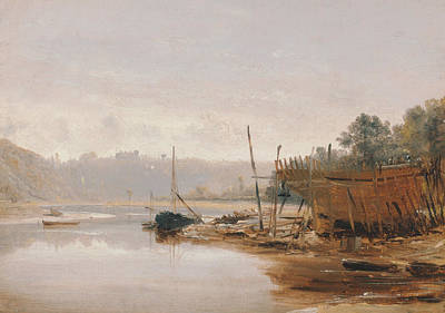 Boat Building Near Dinan, Brittany Poster by Francis Danby