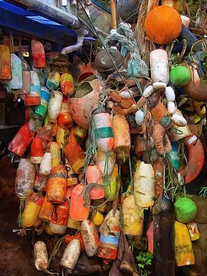 Poster featuring the photograph Crab Pot Buoys by Thom Zehrfeld
