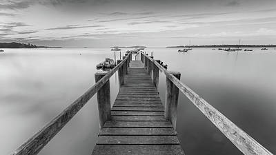 Boat Dock At Sunrise Black-and-white Panorama Poster