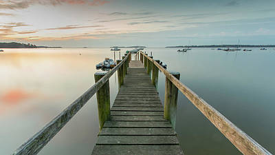Boat Dock At Sunrise Grey Blue Panorama Poster by Dapixara Art
