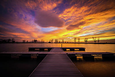 Boat Dock Sunset Poster