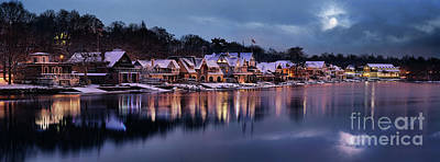 Boat House Row Snow Panorama Poster