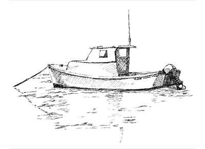 Boat In Casco Bay Poster