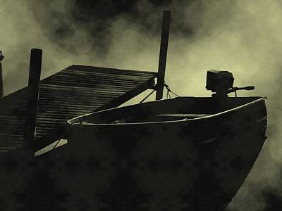 Boat In Fog Poster by Michael L Kimble