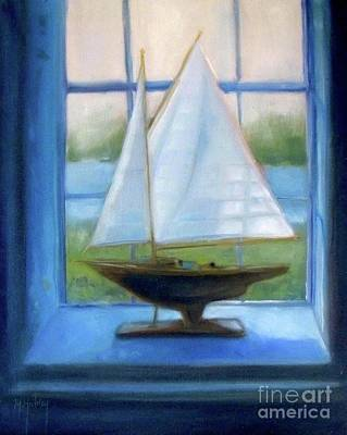 Boat In The Window Poster by Mary Hubley