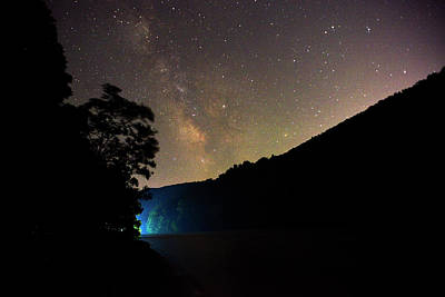 Boat Lights In Cheat Lake Under The Milky Way Poster