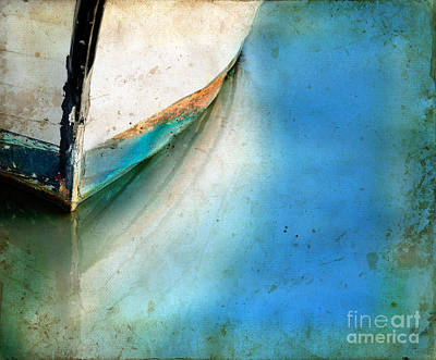 Bow Of An Old Boat Reflecting In Water Poster by Jill Battaglia