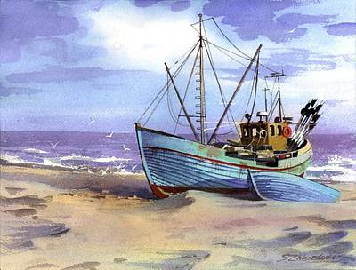 Boat On A Beach Poster by Sergey Zhiboedov