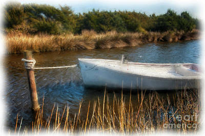 Boat On Pamlico Sound Ocracoke Island Outer Banks Ap Poster by Dan Carmichael