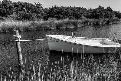 Boat On Pamlico Sound Ocracoke Island Outer Banks Bw Poster by Dan Carmichael