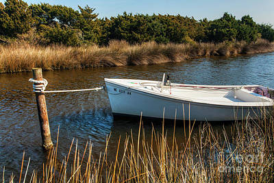 Boat On Pamlico Sound Ocracoke Island Outer Banks Poster by Dan Carmichael