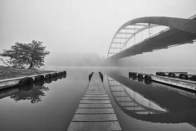 Boat Ramp Black And White At The 360 Bridge Austin Texas Poster by Rob Greebon