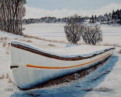 Poster featuring the painting Boat Under Snow by Marilyn  McNish