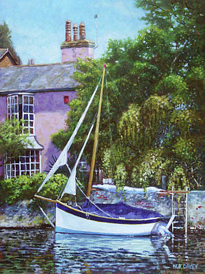 Poster featuring the painting Boat With Pink House On River by Martin Davey