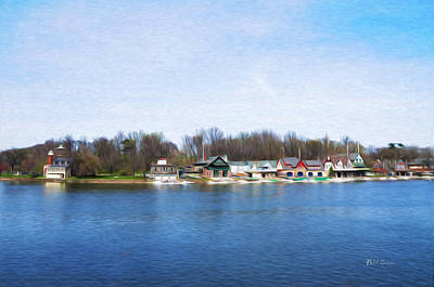 Boathouse Row At The Bend Poster by Bill Cannon