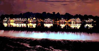 Boathouse Row In The Night Poster by Bill Cannon