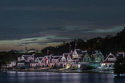 Boathouse Row Philly Pa Night Poster by Terry DeLuco