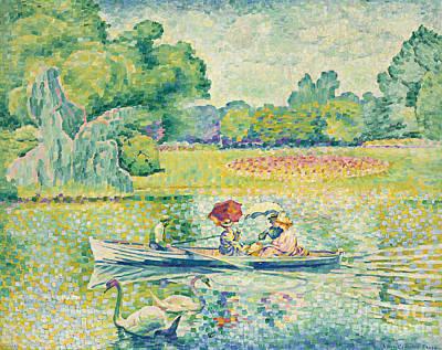 Boating In The Bois De Boulogne Poster by Henri-Edmond Cross