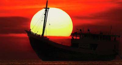 Boatman Enjoying Sunset Poster