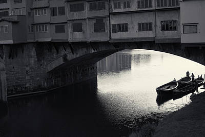 Poster featuring the photograph Boatmen And Ponte Vecchio, Florence, Italy by Richard Goodrich