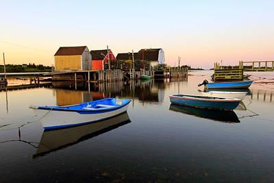 Boats And Fish Shacks At Blue Rocks, Nova Scotia Poster