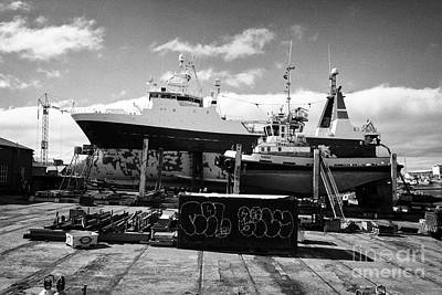 Boats And Ship In Dry Dock In Reykjavik Harbour Iceland Poster