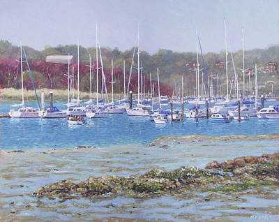 Poster featuring the painting Boats At Hamble Marina by Martin Davey