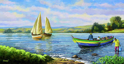 Poster featuring the painting Boats At Lake Victoria by Anthony Mwangi