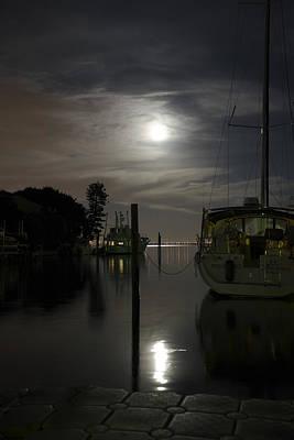 Boats At Moon Rise Poster
