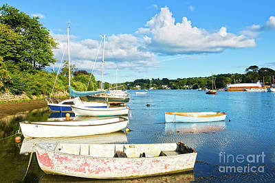 Boats At Mylor Bridge Poster by Terri Waters