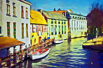 Boat In Channel Little White Boat Small Boat Painting Old Boat Painting Abstract Boat Art Countrysid Poster by Vya Artist