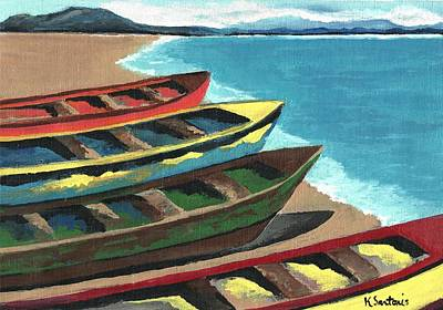 Boats In A Row Poster by Kathleen Sartoris