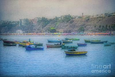 Poster featuring the photograph Boats In Blue Twilight - Lima, Peru by Mary Machare
