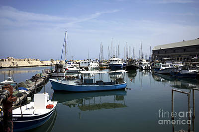 Boats In The Jaffa Port Poster
