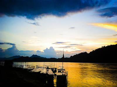 Boats In The Mekong River, Luang Prabang At Sunset Poster