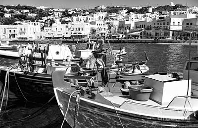 Boats In The Mykonos Harbor Mon Poster