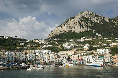 Boats Moored At A Port, Capri, Naples Poster by Panoramic Images