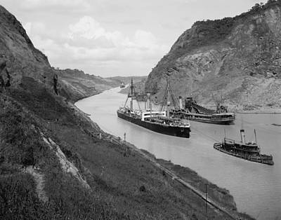 Boats Move Through Panama Canal Poster