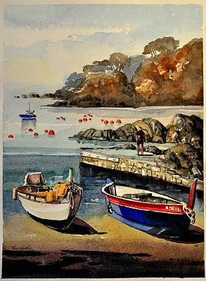 Boats Of Calella Spain Poster