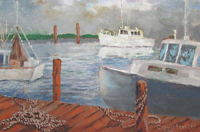 Poster featuring the painting Boats Of Tarpon Springs II by Tony Caviston
