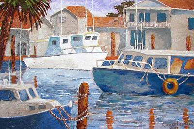 Poster featuring the painting Boats Of Tarpon Springs IIi by Tony Caviston