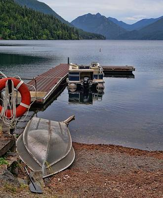 Boats On Lake Crescent Washington Poster
