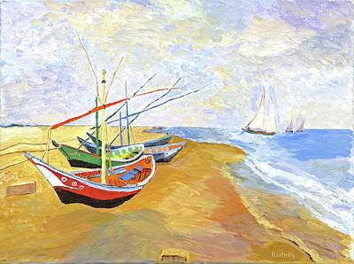 Poster featuring the painting Boats On The Beach At Saintes-maries After Van Gogh by Rodney Campbell