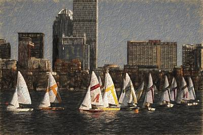 Boats On The Charles River Boston Ma Poster