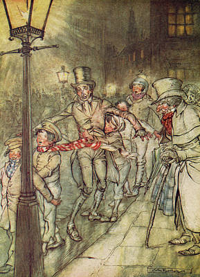 Bob Cratchit Went Down A Slide On Cornhill Poster by Arthur Rackham