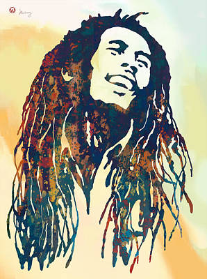Bob Marley Art Stylised Pop Poser Poster by Kim Wang