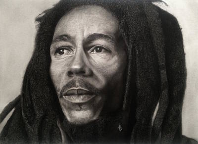 Bob Marley Drawing Poster by Angelee Borrero