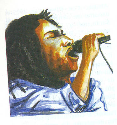 Poster featuring the painting Bob Marley by Emmanuel Baliyanga