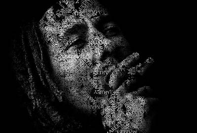 Bob Marley Text Portrait - Typographic Face Poster With The Lyrics For The Song Don't Worry Be Happy Poster by Jose Elias - Sofia Pereira