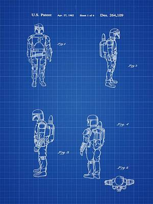 Boba Fett Toy Patent 1982 In Blue Print Poster